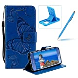 Strap Leather Case for Huawei P10 Lite,Wallet Leather Case for Huawei P10 Lite,Herzzer Premium Stylish Pretty 3D Blue Butterfly Printed Bookstyle Magnetic Full Body Soft Rubber Flip Portable Carrying Stand Case with Card Holder Slots