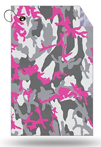 Moonlight Printing Pink Camouflage Hot Pink Camo Microfiber Velour 11x18 Golf Bag Towel with Grommet and Clip