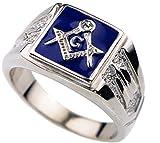 Blue Masonic Men's Ring Cubic Zirconia accent White Gold overlay