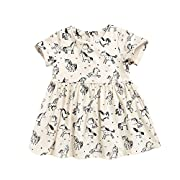 YOUNGER TREE Baby Girls Rainbow Unicorn Print Summer Dress Short Sleeves Party Skirt for 0-5 Years