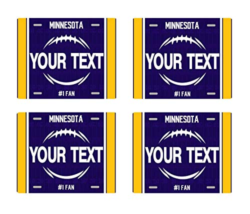 BRGiftShop Personalize Your Own Football Team Minnesota Set of 4 Square Beverage Coasters