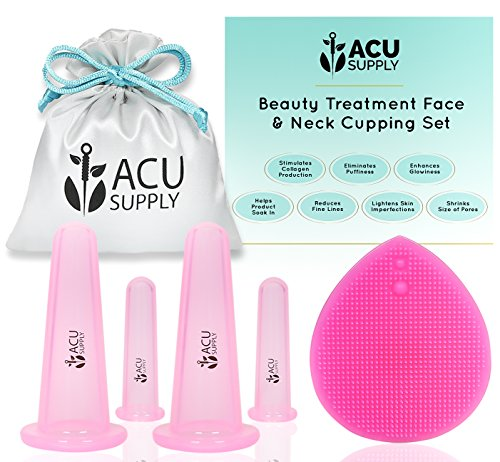 Face and Eye Cupping Massage Kit With Guidance by Therapist | Anti-Aging Face Lift Sessions That Works for Fine Lines, Wrinkles, Improves Collagen and Lymphatic Drainage by ACU Supply (Clear Pink)