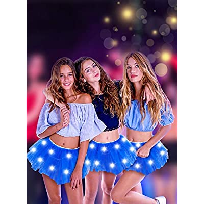 SIPU Ballet Tutus for Women Light Up Neon LED Royal Blue Tutu Skirt with Classic 5 Layered Tulle at  Women's Clothing store