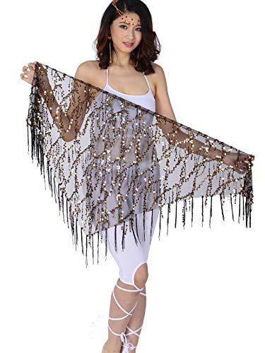 ZLTdream Belly Dance Sequin Triangle Hip Scarf Black-gold