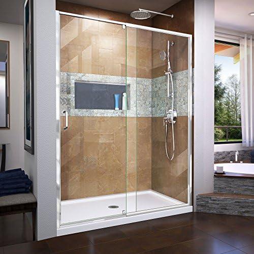DreamLine Flex 56-60 in. W x 72 in. H Semi-Frameless Pivot Shower Door in Chrome, SHDR-22607200-01