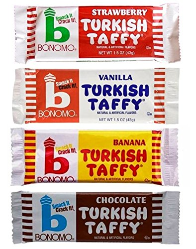 Bonomo Turkish Taffy Bar (Bonomo Turkish Taffy Candy 4 Flavor 12 Bar Variety Bundle, (3) each: Strawberry, Vanilla, Banana, and Chocolate (1.5 Ounces))