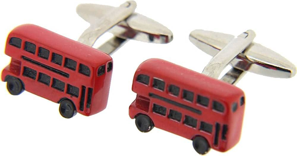Silver//Red David Van Hagen Mens Bus Cufflinks