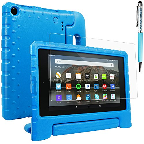 Case for All-New Fire HD 8 2017 and 2016 with Screen Protector and Stylus, AFUNTA Convertible Handle Stand EVA Protective Case and PET Film for Amazon Tablet (7th and 6th Generation) - Blue