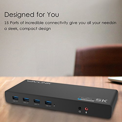 Wavlink Universal USB-C Ultra 5K Docking Station with 4K Dual Video Outputs and Support for Mac,Windows 7/ 8/ 8.1/ 10(USB-C in,DP and HDMI,Gigabit Ethernet,Audio out and Mic in,6 USB 3.0 Port) by WAVLINK (Image #5)