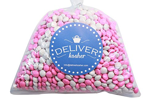 Deliver Kosher Bulk Candy - White & Pink Chocolate Lentils - 1lb (Pink And White M&ms)