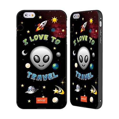 Officiel Emoji J'Aime Voyage Espace Noir Étui Coque Aluminium Bumper Slider pour Apple iPhone 6 Plus / 6s Plus