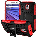 TARKAN Hard Armor Hybrid Rubber Bumper Flip Stand Rugged Back Case Cover For Moto X Play (Red)