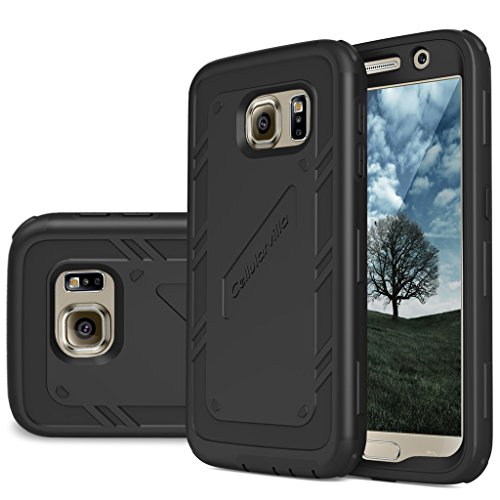 S6 Case, Galaxy S6 Case, Cellularvilla [Hybrid] [Rugged] Heavy Duty Full Body Protection Case [Shockproof] [Bumper Corner] Built in Clear Screen Protector Cover for Samsung Galaxy S6 (Aluminum Cv Guards)
