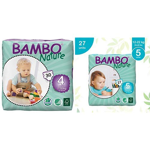 Bambo Nature Eco Friendly Baby Diapers Classic for Sensitive Skin, Size 4 (15-40 lbs), 30 Count and Bambo Nature Eco Friendly Baby Diapers Classic for Sensitive Skin, Size 5 (26-49 lbs), 27 Count