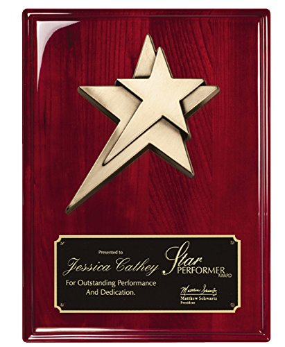 Woltman - 9 X 12 ROSEWOOD PIANO FINISH PLAQUE WITH METAL STAR CASTING AND BLACK BRASS ENGRAVING PLATE