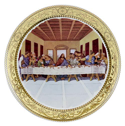 (D) Royalty Porcelain 4-pc Hand Painted Wall Plates Last Supper, Hanging Plates ()