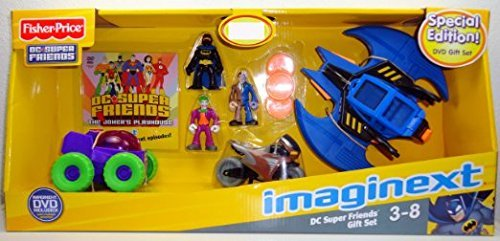Fisher-Price Imaginext DC Super Friends Figures & Vehicles Gift Set -Batman, Joker, Two Face, Batwing, BatCycle & Joker -