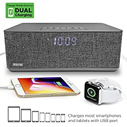 iHome Bluetooth Dual Alarm FM Clock Radio with Speakerphone and Dual USB Charging (Dual Charge)