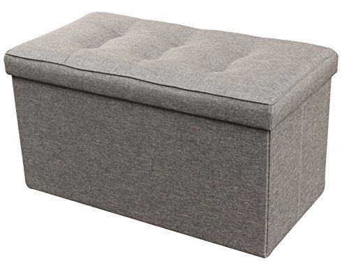 Zulera - Storage Ottoman Foldable With Square Padded 2 Seat - 16 x 30 x 16 inches (30 Tray X Ottoman 30)