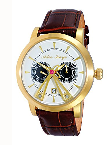 Adee Kaye Men's Stainless Steel Chinese-Automatic Watch with Leather Strap, Brown, 22 (Model: AK8871-GSV)