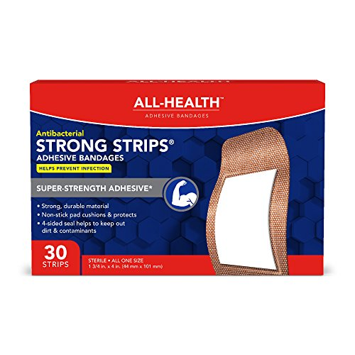 All-Health Strong Strips Antibacterial Heavy-Duty Adhesive Bandages, 1-3/4 inch, 30 ()