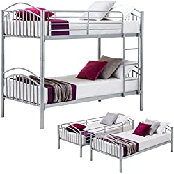 Mecor Twin Over Twin Metal Bunk Bed-Removable Bunk Beds Frame-with Ladder for Boys/Kids/Adults/Teens, Silver Gray(Convertible)