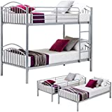 Mecor Twin Over Twin Bunk Bed-Removable Metal Bunk Beds Frame with Ladder for Kids/Adult Children Bedroom Furniture (Silver-Convertible)