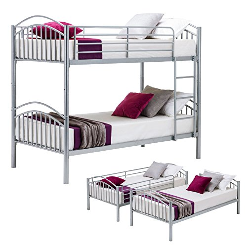 Metal Bunk Bed-Removable Bunk Beds Frame-with Ladder for Boys/Kids/Adults/Teens, Silver Gray(Convertible) ()