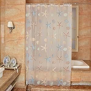 "YJBear PEVA Starfish Conch Shell Printed Mildew Resistant Shower Curtain Anti-Bacterial Bath Decor Waterproof Home Decoration Thin Bathroom Curtain 79"" X 71"""