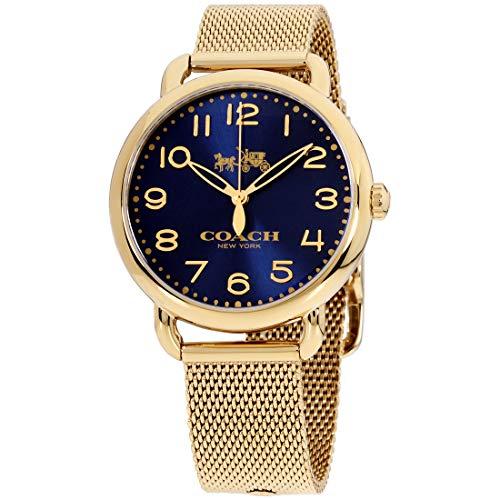 Coach Women's 14502665 Delancey Gold Tone Stainless Mesh Bracelet Blue Dial Watch