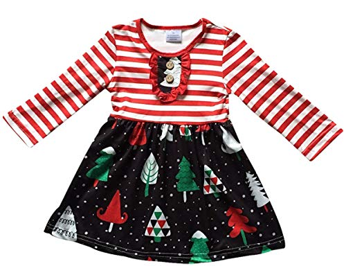 BluNight Collection Big Girl Dress Kids Christmas Tree Stripe Holiday Party Flower Girl Dress Red Black 8 3XL (202053)