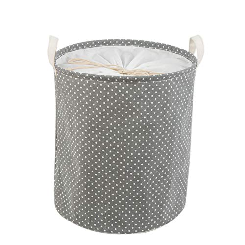 Every Deco Round Polka Dot Laundry Basket with Drawstring - Fabric Lined Hamper Storage Bin