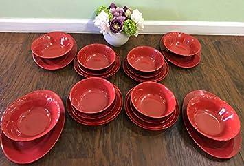 MrTableware 24-piece Melamine Dinnerware Japanese Red/black Bowls Plates & Amazon.com | MrTableware 24-piece Melamine Dinnerware Japanese Red ...