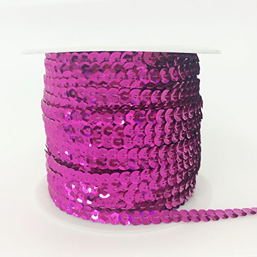 PEPPERLONELY Brand 100 Yard/Roll Metallic Faceted Sequin Trim 6mm(1/4 Inch), Fuchsia