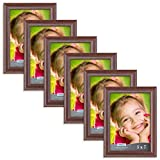 5 x 5 photo frame - Icona Bay 5 by 7 Inch Picture Frames (5x7 - 6 Pack, Teak Wood Finish), Picture Frame Set For Wall Hang or Table Top, Lakeland Collection