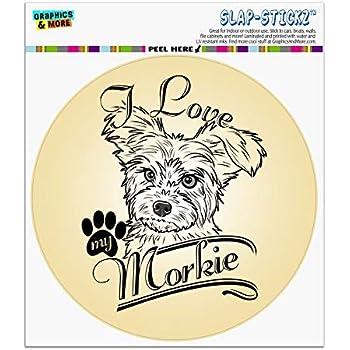 I Love My Morkie Dog Bone Magnet 2x7 inch Decal for Car Truck or Fridge