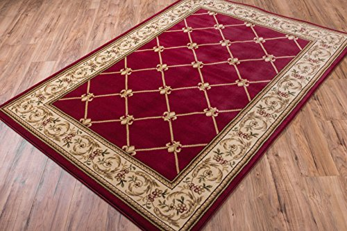 (Well Woven Timeless Fleur De Lis Red Formal Area Rug 2'3