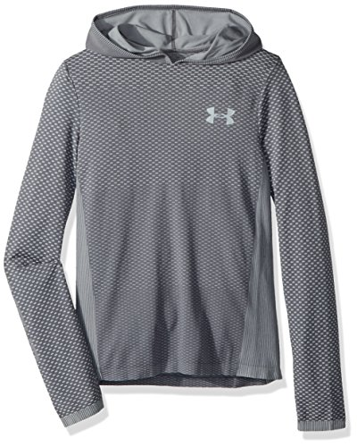 Under Armour Boys Seamless Hoodie, Overcast Gray (941)/Black, Youth X-Large