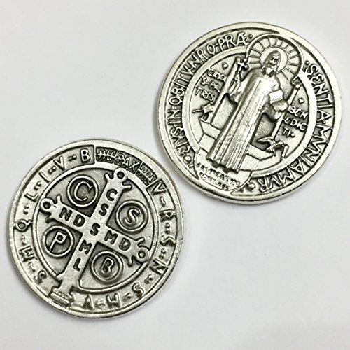 Saint St Benedict of Nursia Pocket Token Coin Protection Protect Catholic Charm Medal Religious Gift 1 1/8