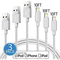 Certified PB iPhone Charger 3Pack 10 Feet/ 3 Meter Nylon Braided 8 Pin Charging Cables USB Charger Cord, Compatible with iPhone X, 8, 8 Plus, 7, 7 Plus, 6S, 6S Plus, 6, 6 Plus, SE, 5S, iPad - Silver