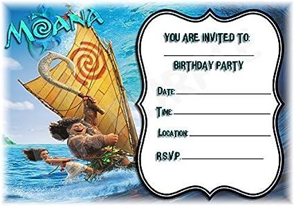 Tarjetas De Invitación De Moana De Disney Para Cumpleaños