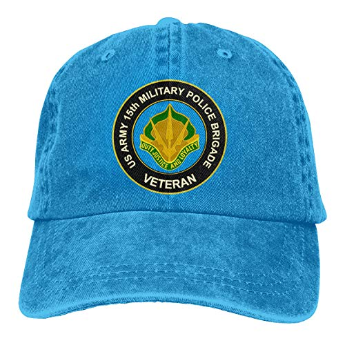 U.S. Army 15th Military Police Brigade Unit Crest Veteran,Women's Adjustable Sport Jeans Golf Cap Hat Blue