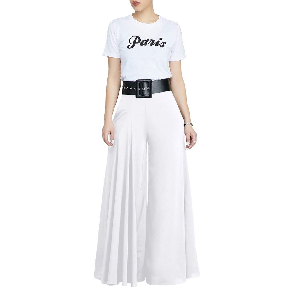 VEZAD Store Wide Leg Pants Women's Solid Pleated Loose Casual Comfortable Trousers White by VEZAD Store