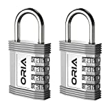 ORIA Combination Padlock, 4 Digit Combination Lock, Metal and Plated Steel Material for School, Employee, Gym Or Sports Locker, Case, Toolbox, Fence, Hasp Cabinet and Storage, Set of 2, Silver