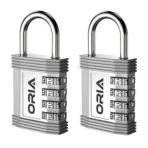Silver Outdoor Materials - ORIA Combination Padlock, 4 Digit Combination Lock, Metal and Plated Steel Material for School, Employee, Gym or Sports Locker, Case, Toolbox, Fence, Hasp Cabinet and Storage, Set of 2, Silver