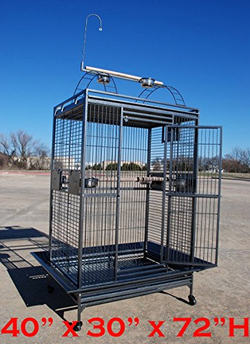 XX Large 40''x30''x72''H Play Top Wrought Iron Parrot Cage For Large Size Macaws Cockatoos Amazon African Grey by Mcage