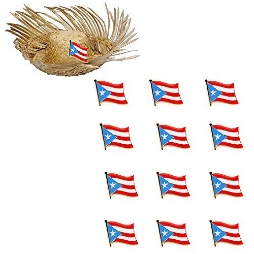12 Puerto Rico Flag Lapel Pin Puerto Rican Pride Badge Pinback Hat Cap Tie Tack ()
