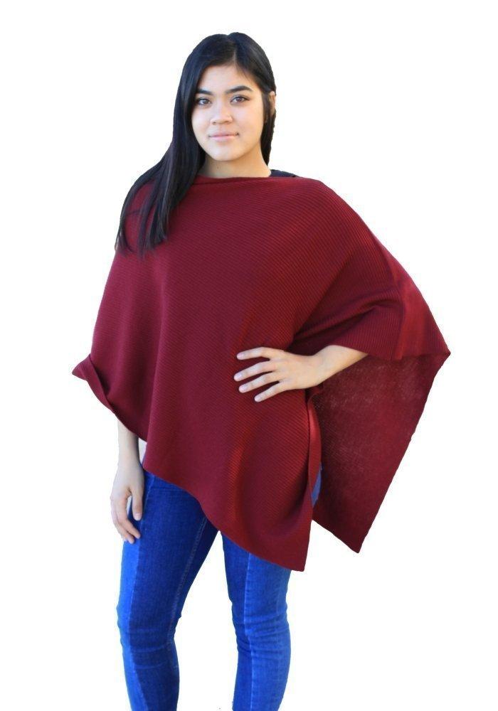 Emji 100% Cashwool® Merino Wool Ribbed-Knit Poncho, Luxury Pullover Poncho with 2x1 Rib Knit Pattern, Pomegranate Red