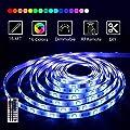 LED Strip Lights, 16.4ft RGB Waterproof LED Light Strip 5050 150LEDs Tape Lights, Color Changing LED Strip Lights with RF Remote for Home Lighting Kitchen Bed Flexible Strip Lights for Bar Home Decora