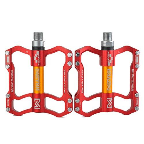 ThinkTop 8 Bearing MTB/BMX Road Mountain Bike Platform Pedals Flat Sealed Lubricate Bearing Axle 9/16 Inch ()